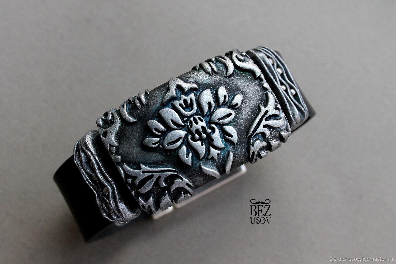 Leather bracelet 'Flower paporotnika', Regaliz bracelet, Domodedovo,  Фото №1