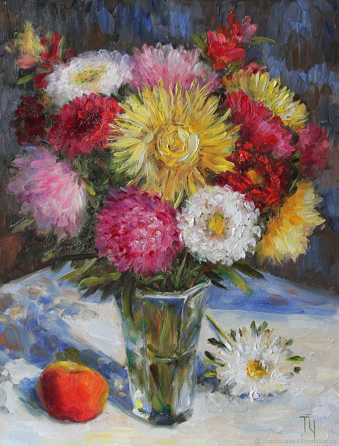 Oil painting of Aster. 40h30 cm. In the frame, Pictures, Moscow,  Фото №1
