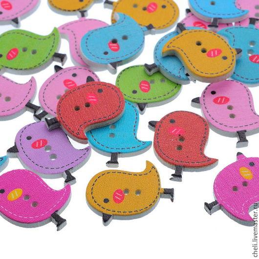 """Шитье ручной работы. Ярмарка Мастеров - ручная работа. Купить Пуговицы деревянные """"Птички"""". Handmade. Разноцветный, детские, развивающая книжка"""