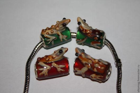 Для украшений ручной работы. Ярмарка Мастеров - ручная работа. Купить Бусины в стиле Пандора стекло, Лягушка. Handmade. Пандора