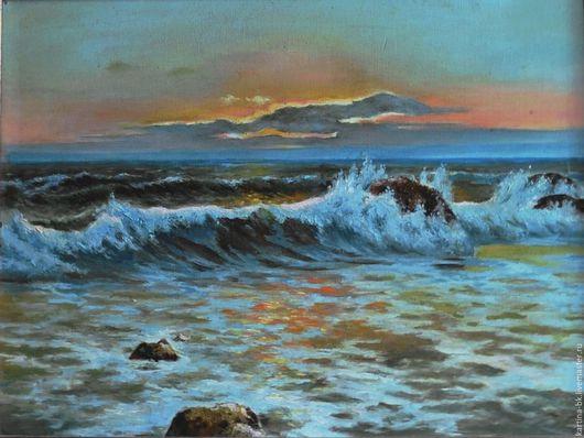 Пейзаж ручной работы. Ярмарка Мастеров - ручная работа. Купить закат на море. Handmade. Море, Прибой, пена, масло, мастехин