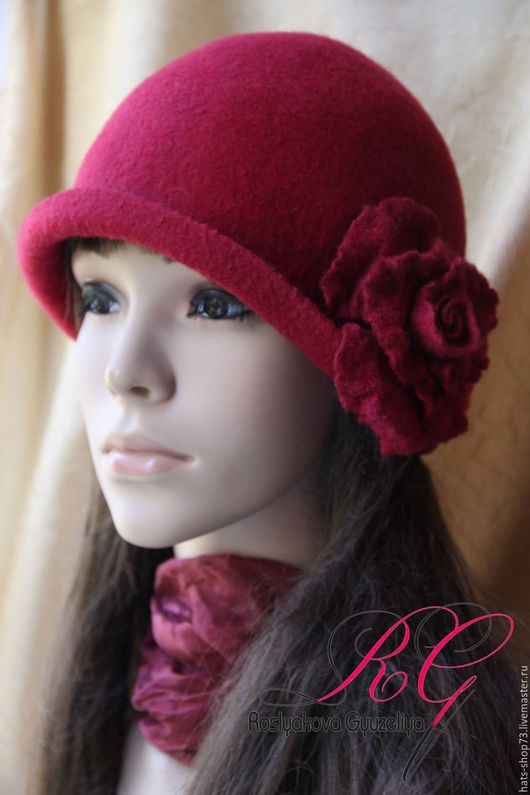 Шляпы ручной работы. Ярмарка Мастеров - ручная работа. Купить Валяная шляпка Зимняя вишня. Handmade. Бордовый, войлочная шляпка