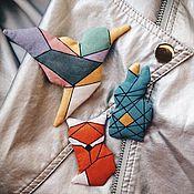 """Украшения ручной работы. Ярмарка Мастеров - ручная работа Брошь """"Животные"""" (Колибри,Лиса,Заяц) в стиле оригами. Handmade."""