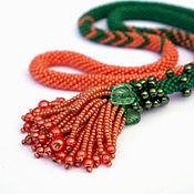 Украшения handmade. Livemaster - original item Necklace with pendant Last Rowan berry beaded decoration. Handmade.