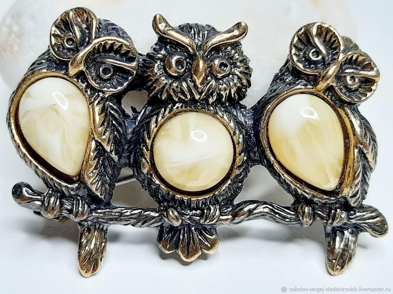 Owl brooch trio, Brooches, Moscow,  Фото №1