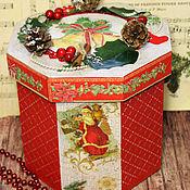 Елочные игрушки в коробе Новогодние чудеса декупаж