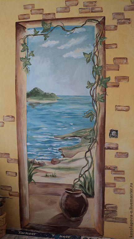 Пейзаж ручной работы. Ярмарка Мастеров - ручная работа. Купить Роспись на стене. Handmade. Роспись стен, море, роспись в интерьере