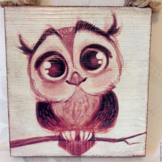 Животные ручной работы. Ярмарка Мастеров - ручная работа. Купить Сова - большие глаза! Деревянное панно. Handmade. Коричневый