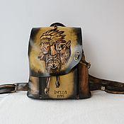 Сумки и аксессуары handmade. Livemaster - original item Leather backpack with engraving and painting FOR GOOD LUCK.. Handmade.