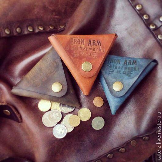 Кошельки и визитницы ручной работы. Ярмарка Мастеров - ручная работа. Купить Монетница из натуральной кожи кошелечек кожаный для монет и мелочи. Handmade.