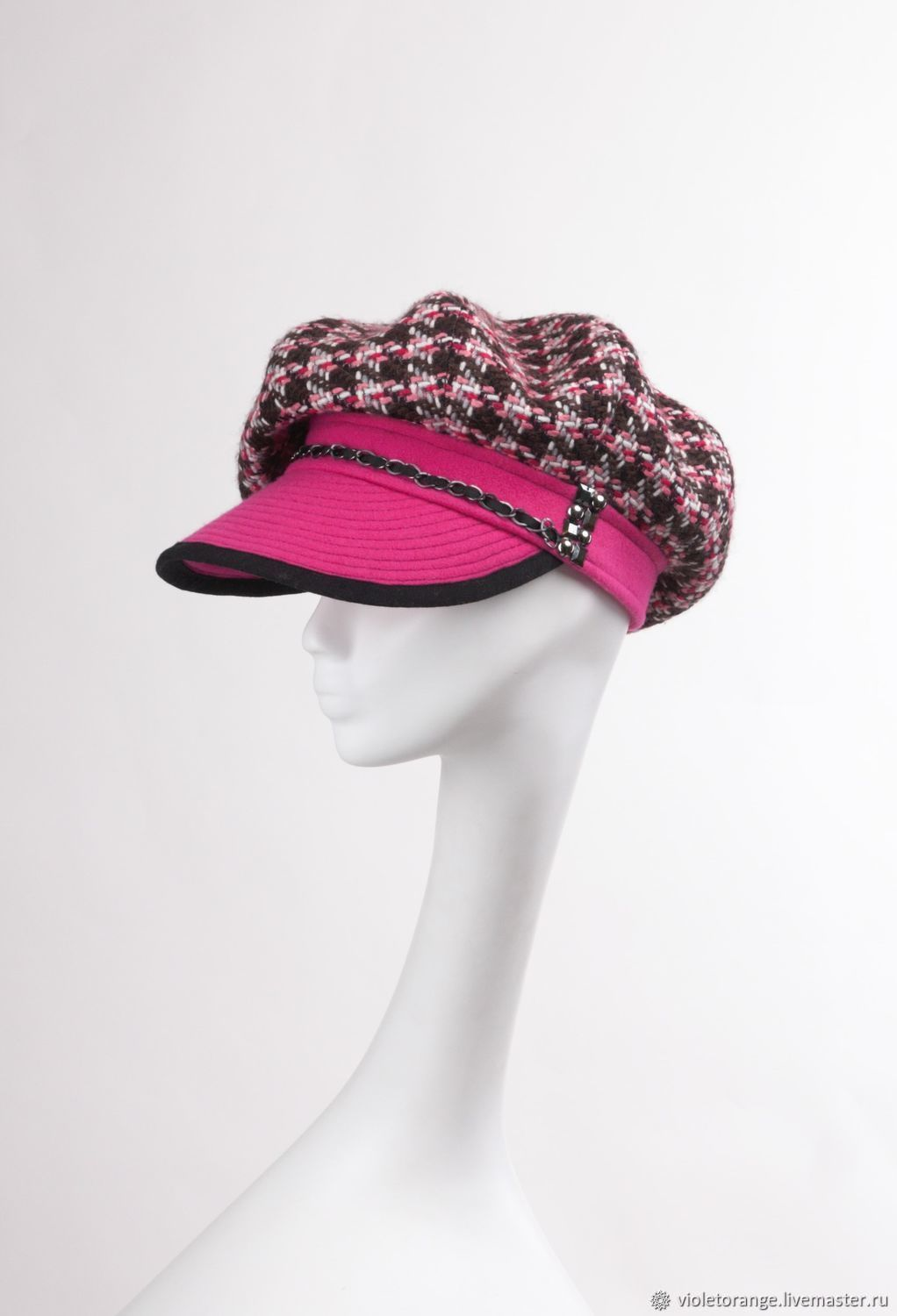 In the style of Chanel. Unique cap of Italian tweed from Ushakova E, Caps1, Moscow,  Фото №1