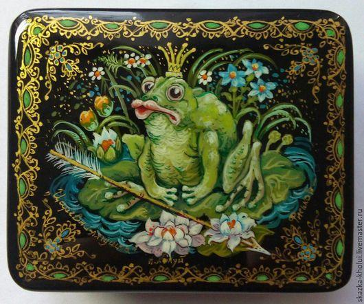 Шкатулки ручной работы. Ярмарка Мастеров - ручная работа. Купить Царевна-лягушка. Handmade. Зеленый, царевна-лягушка, лаковая миниатюра