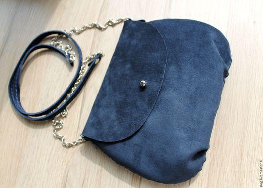 Женские сумки ручной работы. Ярмарка Мастеров - ручная работа. Купить Маленькая замшевая сумочка ручной работы синяя. Handmade.