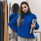 Одежда handmade. Livemaster - original item Jerseys: Women`s large knit sweater with electric hearts. Handmade.