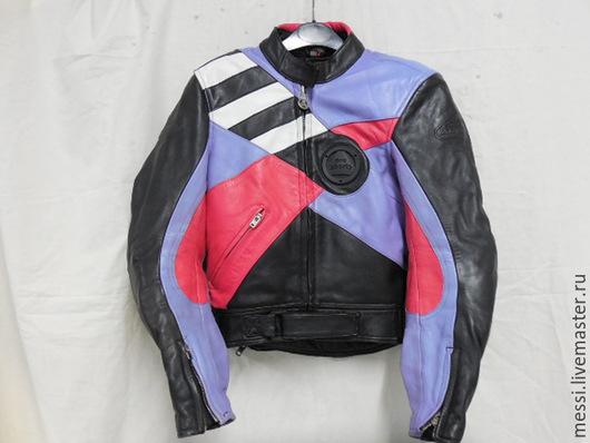 Одежда. Ярмарка Мастеров - ручная работа. Купить Винтажная байкерская куртка, мотокуртка женская р.46. Handmade. Разноцветный, мотоцикл