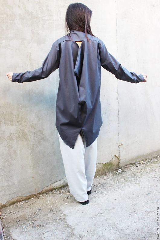 Блузки ручной работы. Ярмарка Мастеров - ручная работа. Купить Экстравагантная рубашка - серая B0014. Handmade. Серый, черная роза