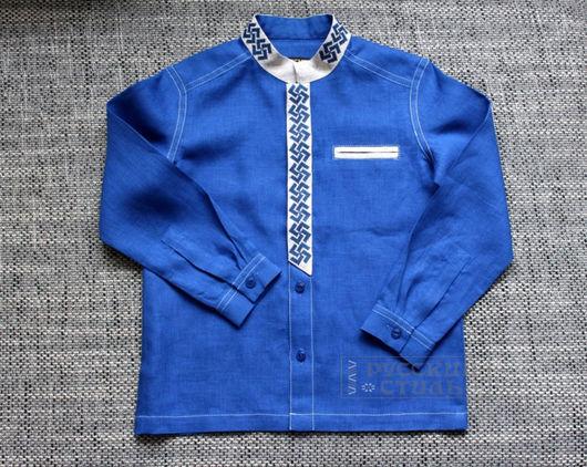 """Для подростков, ручной работы. Ярмарка Мастеров - ручная работа. Купить Детская рубаха """"Ярга"""". Handmade. Синий, стильная одежда"""