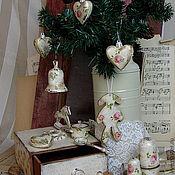 Подарки к праздникам ручной работы. Ярмарка Мастеров - ручная работа Новогодний набор в стиле шебби-шик. Handmade.