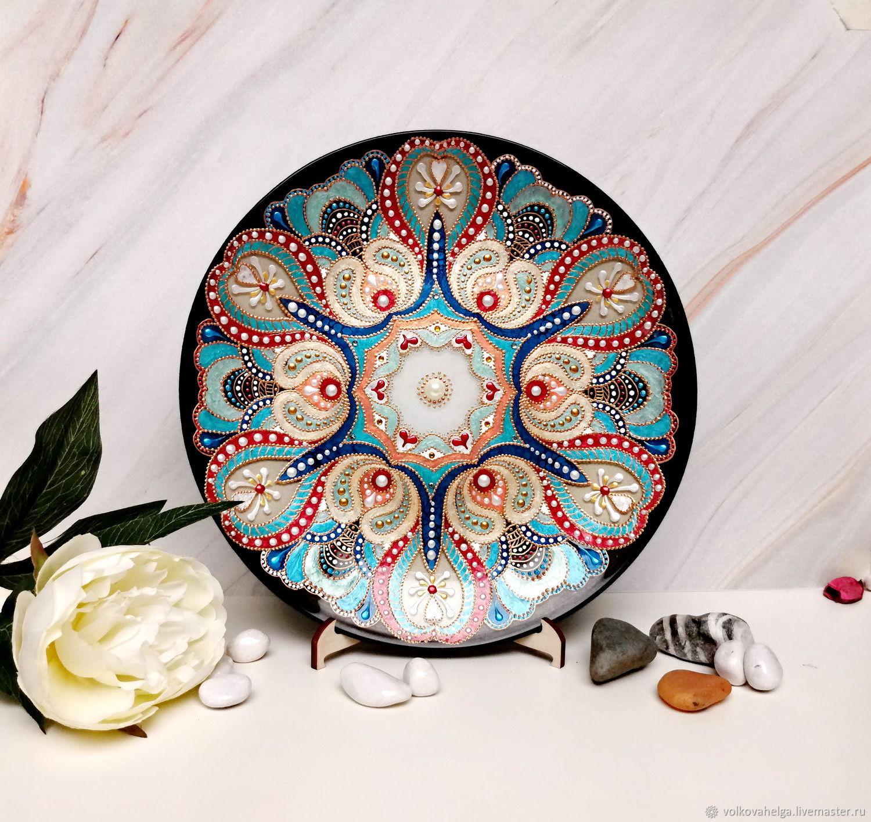 Decorative wall plate, spot painting, Esoteric Mandala, St. Petersburg,  Фото №1