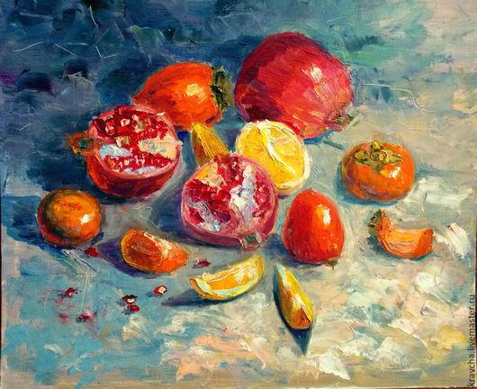 Натюрморт ручной работы. Ярмарка Мастеров - ручная работа. Купить Картина маслом Южные фрукты. Handmade. Разноцветный, гранатовый, кисти