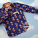 """Одежда для мальчиков, ручной работы. Ярмарка Мастеров - ручная работа. Купить Рубашка """"Хитрый лис в оранжевую клетку"""". Handmade."""