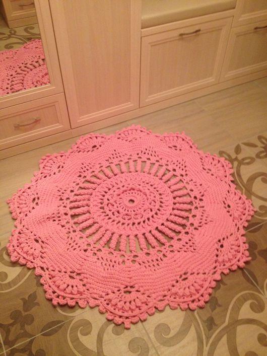 """Текстиль, ковры ручной работы. Ярмарка Мастеров - ручная работа. Купить Ковер """"Рубин"""". Handmade. Розовый, уют, пряжа лента"""
