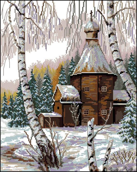 """Вышивка ручной работы. Ярмарка Мастеров - ручная работа. Купить Набор для вышивания """"Живописная зима"""". Handmade. Набор для творчества"""