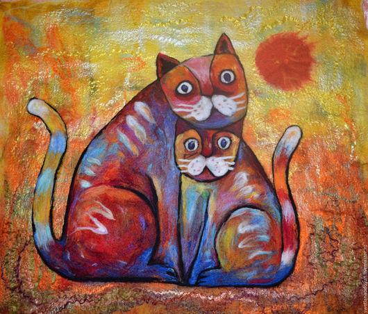 Пейзаж ручной работы. Ярмарка Мастеров - ручная работа. Купить Картина из шерсти Мартовские коты. Handmade. Рыжий, картина для интерьера
