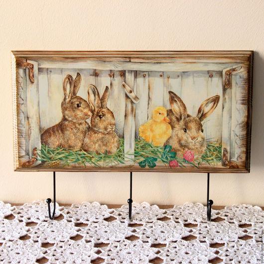 """Кухня ручной работы. Ярмарка Мастеров - ручная работа. Купить Вешалка для детской """"Кролики"""", вешалка панно, ключница. Handmade. Ключница"""