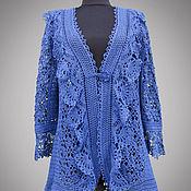 Одежда handmade. Livemaster - original item Crochet cardigan Natalie. Romantic blue handmade lace boho cardigan. Handmade.