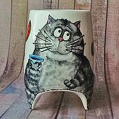 """Посуда ручной работы. Ярмарка Мастеров - ручная работа """"Серый кот за чаем"""" - чашка с ножками. Handmade."""