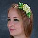 """Диадемы, обручи ручной работы. Ярмарка Мастеров - ручная работа. Купить Ободок """"Зеленая фея"""". Handmade. Салатовый, ободок для волос"""