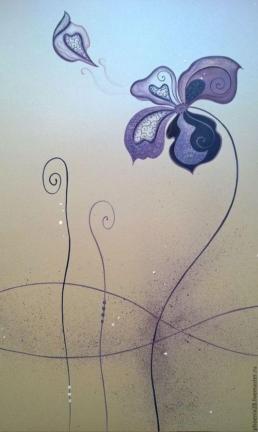 """Картины цветов ручной работы. Ярмарка Мастеров - ручная работа. Купить Картина """"Цветок, исполняющий мечты"""", акрил. Handmade. Картина"""