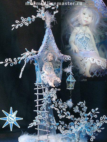Коллекционные куклы ручной работы. Ярмарка Мастеров - ручная работа. Купить Зимние грёзы маленькой феи. Handmade. Фея, бисер