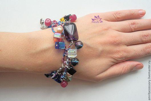 """Браслеты ручной работы. Ярмарка Мастеров - ручная работа. Купить Радостный яркий браслет """"Free Style"""" из разноцветного стекла. Handmade."""