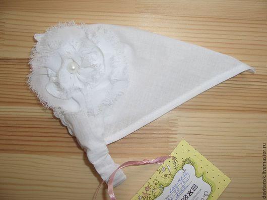 Шапки и шарфы ручной работы. Ярмарка Мастеров - ручная работа. Купить Косынка для девочки с белым  цветком. Handmade. Белый