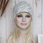 Аксессуары handmade. Livemaster - original item Felted women`s hat.Warm wool gray-white beanie hat. Handmade.