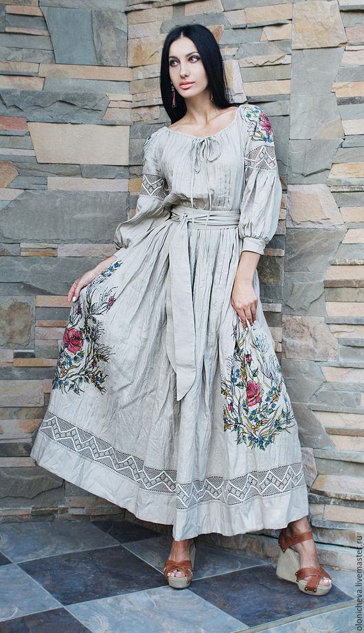 """Платья ручной работы. Ярмарка Мастеров - ручная работа. Купить Эксклюзивное льняное платье с вышивкой и росписью """"Дымчатая роза-2"""". Handmade."""