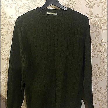 Винтаж ручной работы. Ярмарка Мастеров - ручная работа Винтажная одежда: Темно-зеленый шерстяной свитер (новый). Handmade.
