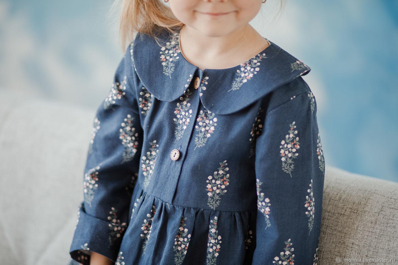 Платье для девочки льняное детское Есения синее нарядное, Одежда, Калининград,  Фото №1