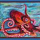 Животные ручной работы. Ярмарка Мастеров - ручная работа. Купить Красный осьминог. Handmade. Бордовый, осьминог, море, контраст, морской