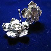 Материалы для творчества handmade. Livemaster - original item Earrings with rhodium plated carnations flowers. Handmade.