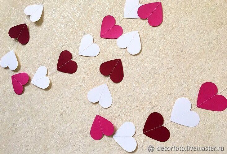 """Гирлянда из картона (бумаги) """"Сердечки"""". Фотозона, Оформление зала, Москва,  Фото №1"""