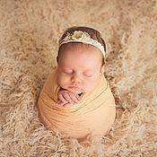 Работы для детей, handmade. Livemaster - original item Peach gauze wrapping for a newborn photo shoot. Handmade.