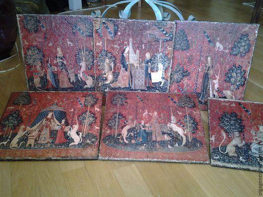 Репродукции ручной работы. Ярмарка Мастеров - ручная работа. Купить Комплект панно из 6 шт на толстом дереве_Дама с единорогом (вся серия). Handmade.