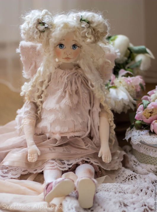Куклы Тильды ручной работы. Ярмарка Мастеров - ручная работа. Купить кукла Ангел. Handmade. Текстильная кукла, винтаж, фиолетовый