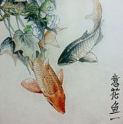 Картины и панно ручной работы. Ярмарка Мастеров - ручная работа Панно в китайском стиле Рыбки. Handmade.