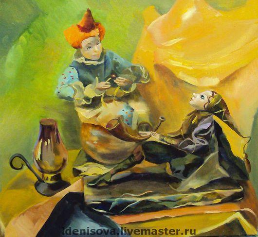 Натюрморт ручной работы. Ярмарка Мастеров - ручная работа. Купить Натюрморт с куклами. Handmade. Куклы, желтый, натюрморт, зеленый, кукла
