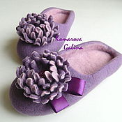 Slippers handmade. Livemaster - original item women`s felted Slippers Purple. Handmade.