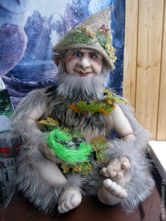 Сказочные персонажи ручной работы. Ярмарка Мастеров - ручная работа. Купить Кукла Леший. Handmade. Хаки, лесовик, чаща, капрон